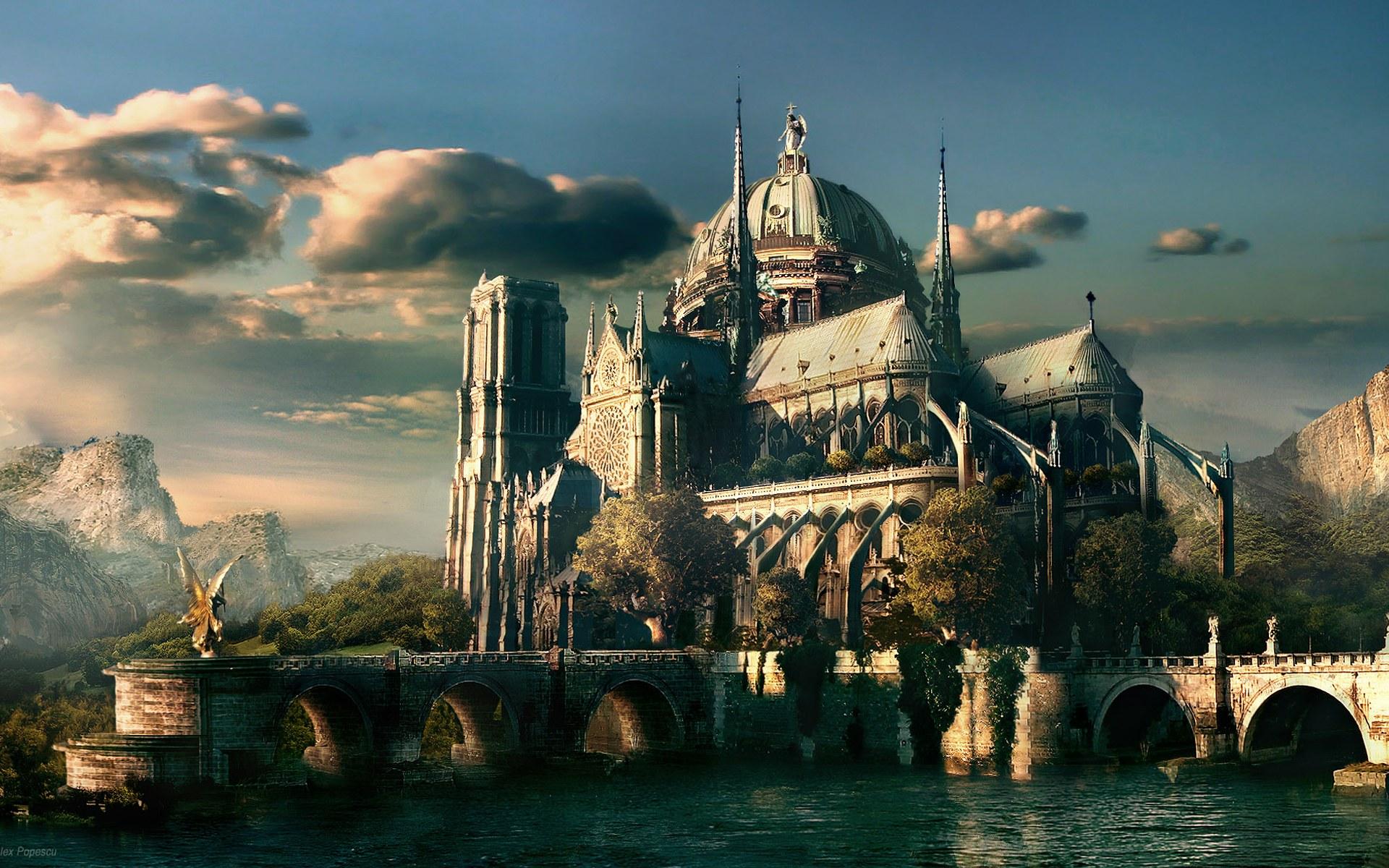 castle art scenery fantasy wallpaper hd