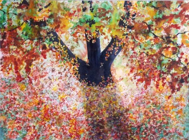 landscape falling leaves image