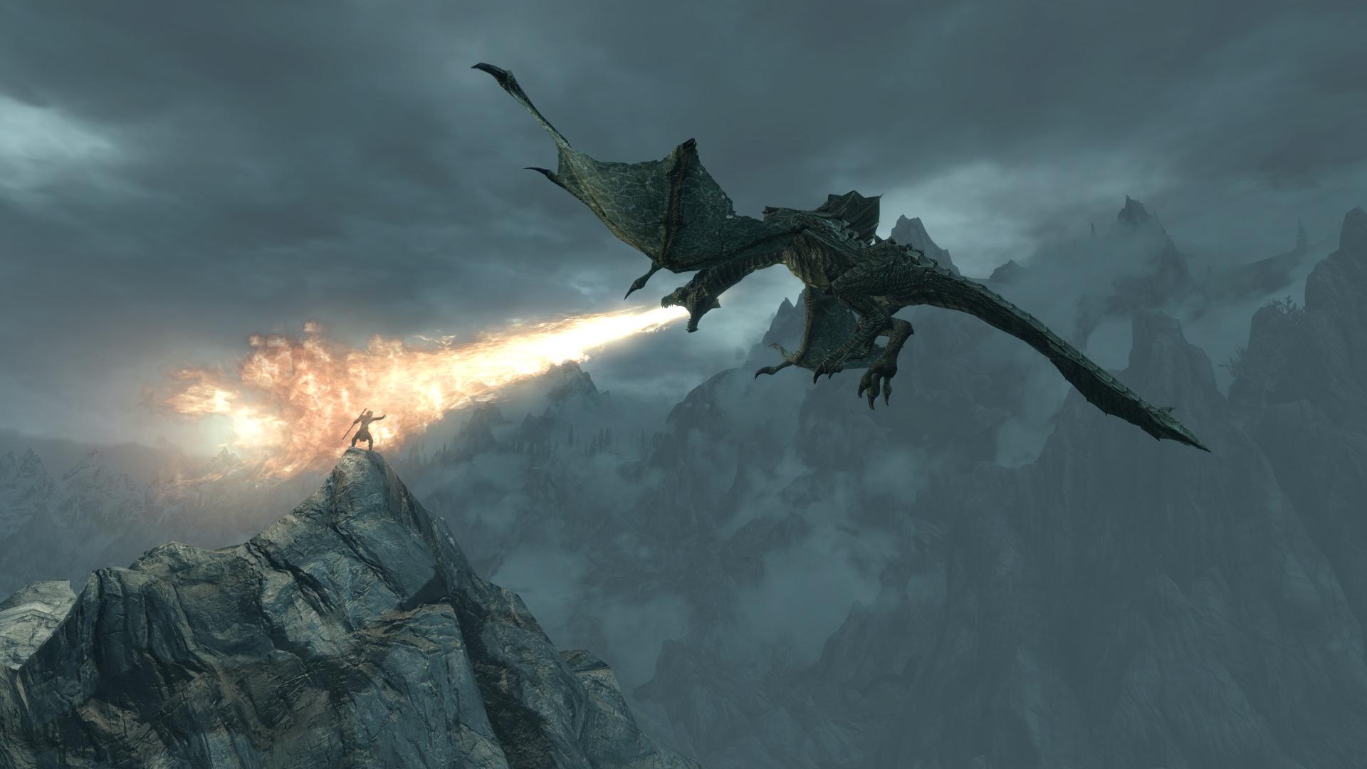 top skyrim dragon background