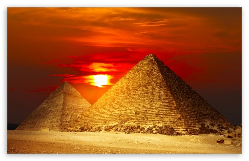 sun down egypt pyramids