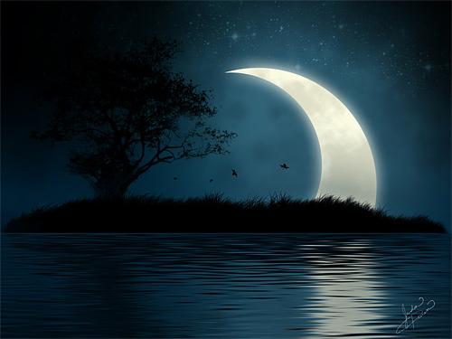 island crescent moon image