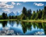 rock mountain lake wallpaper