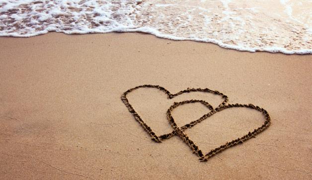 wonderful love heart on sand image