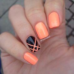 orange and black simple nail designs