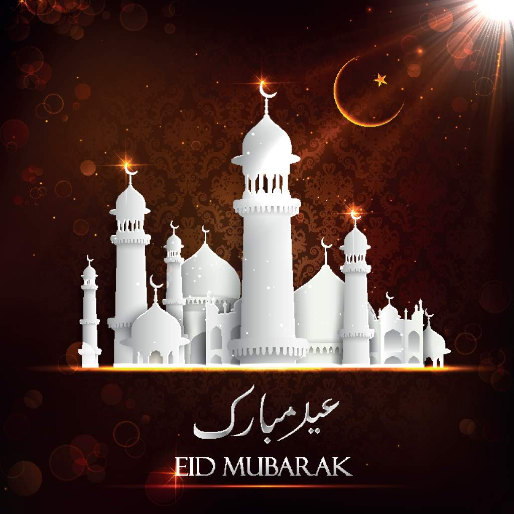 white mosque eid mubarak card
