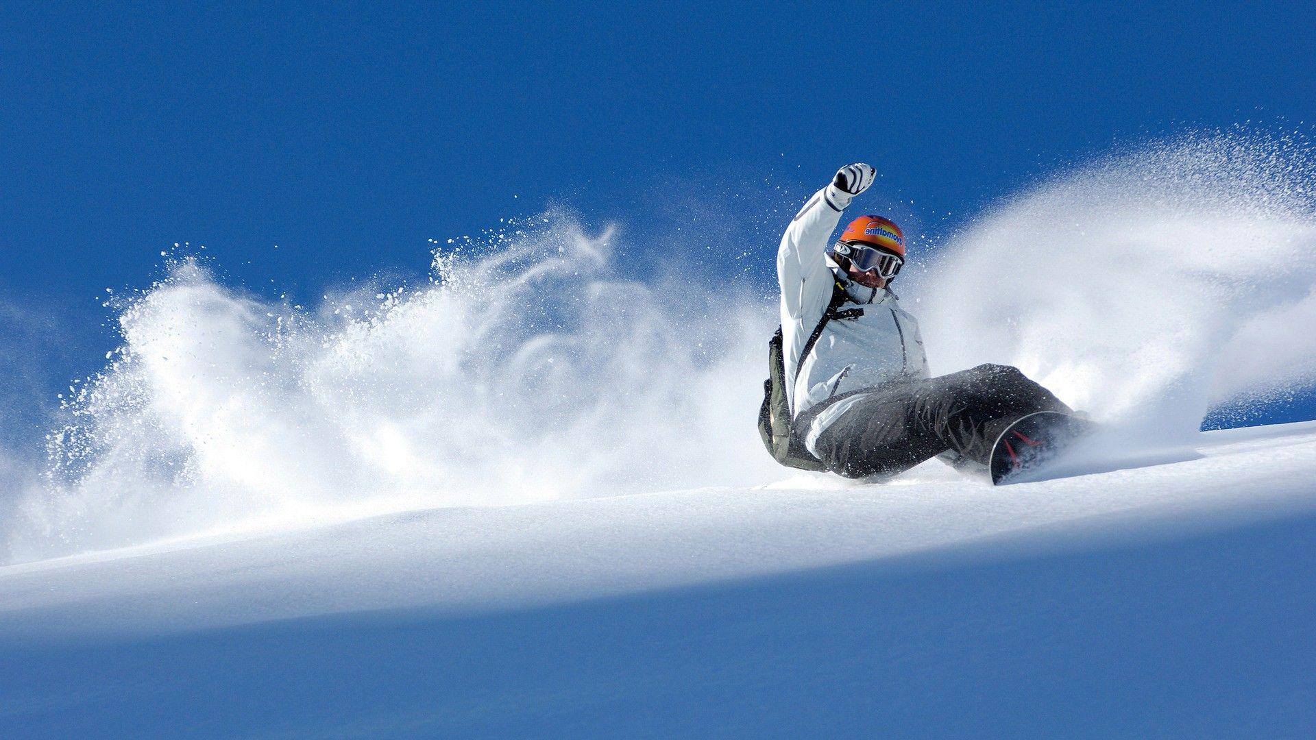 blue sky snowboarding image
