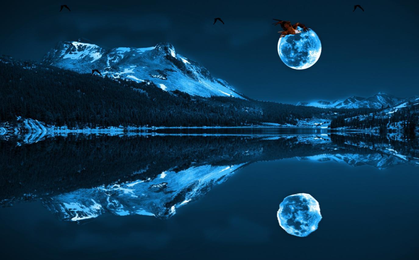 beautiful blue moon image