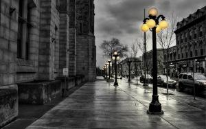evening black white lights buildings