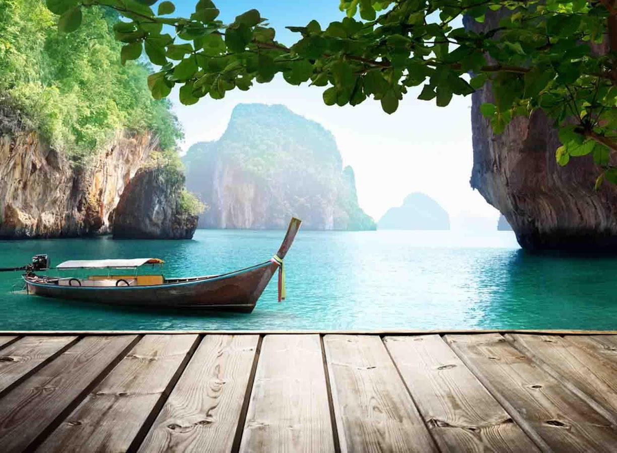 sea boat natural wallpaper