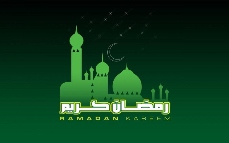 green mosque HD Ramadan Kareem