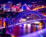 colorful lights on Sydney Harbour Bridge