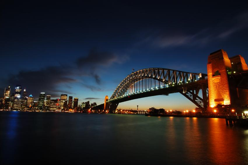darkness clouds Sydney Harbour Bridge