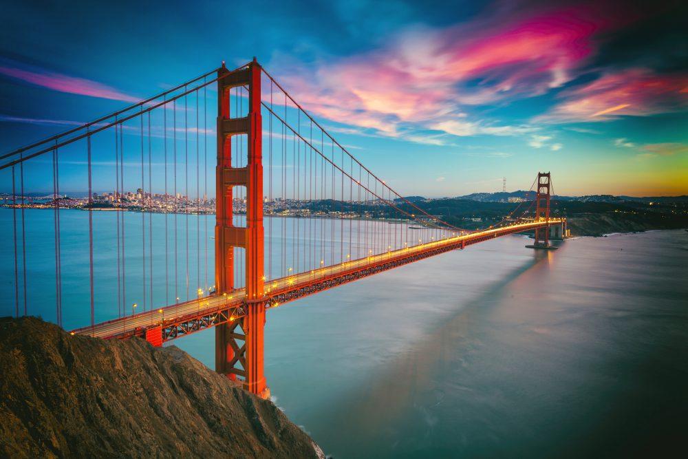 colorful clouds Golden Gate Bridge