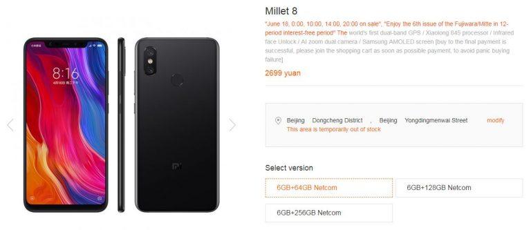 super smarphone Xiaomi Mi 8 Images