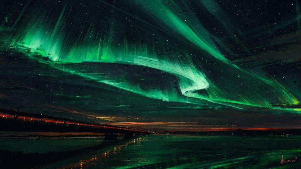green hd Northern Lights Wallpaper