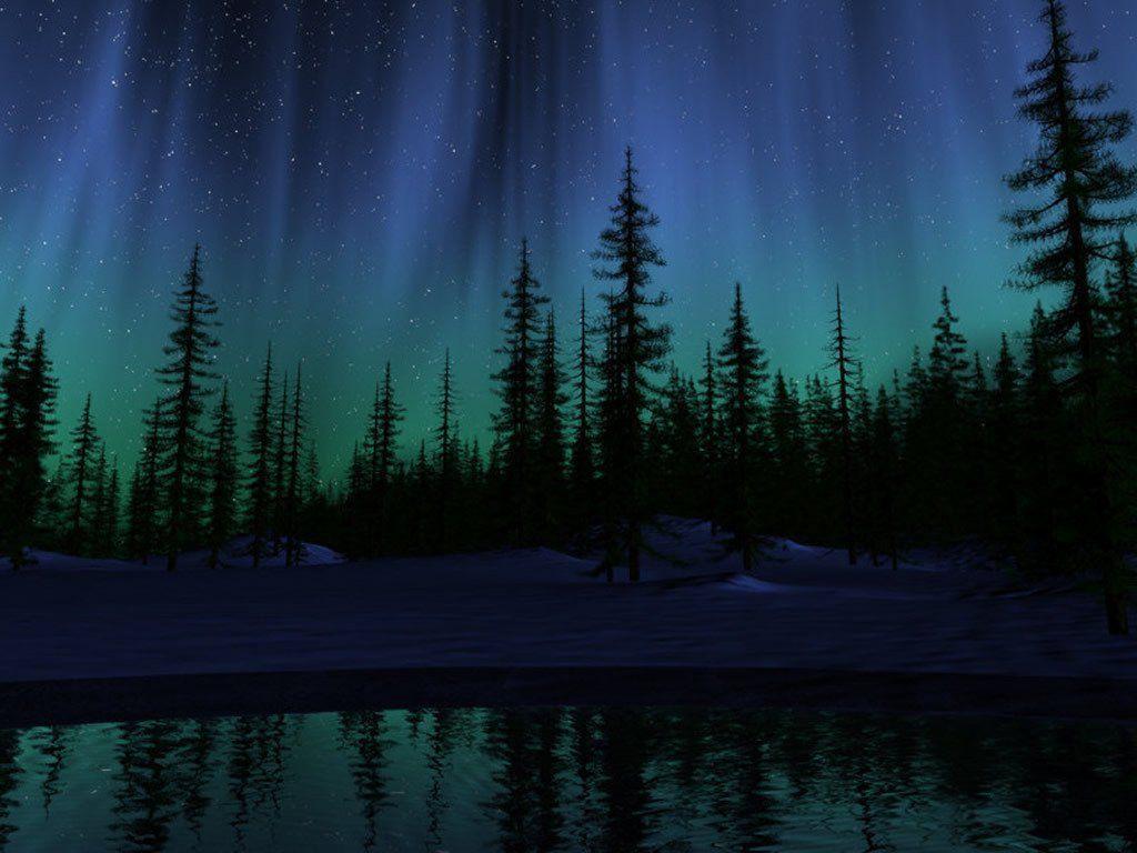 landscape nature Northern Lights Wallpaper