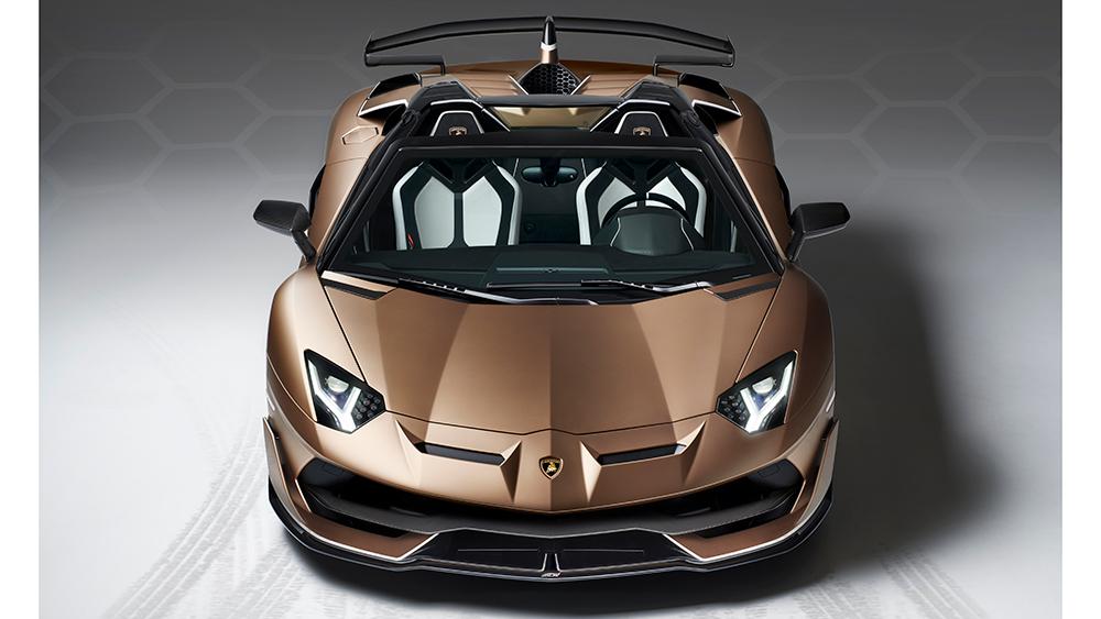 brown Lamborghini Aventador SVJ Roadster