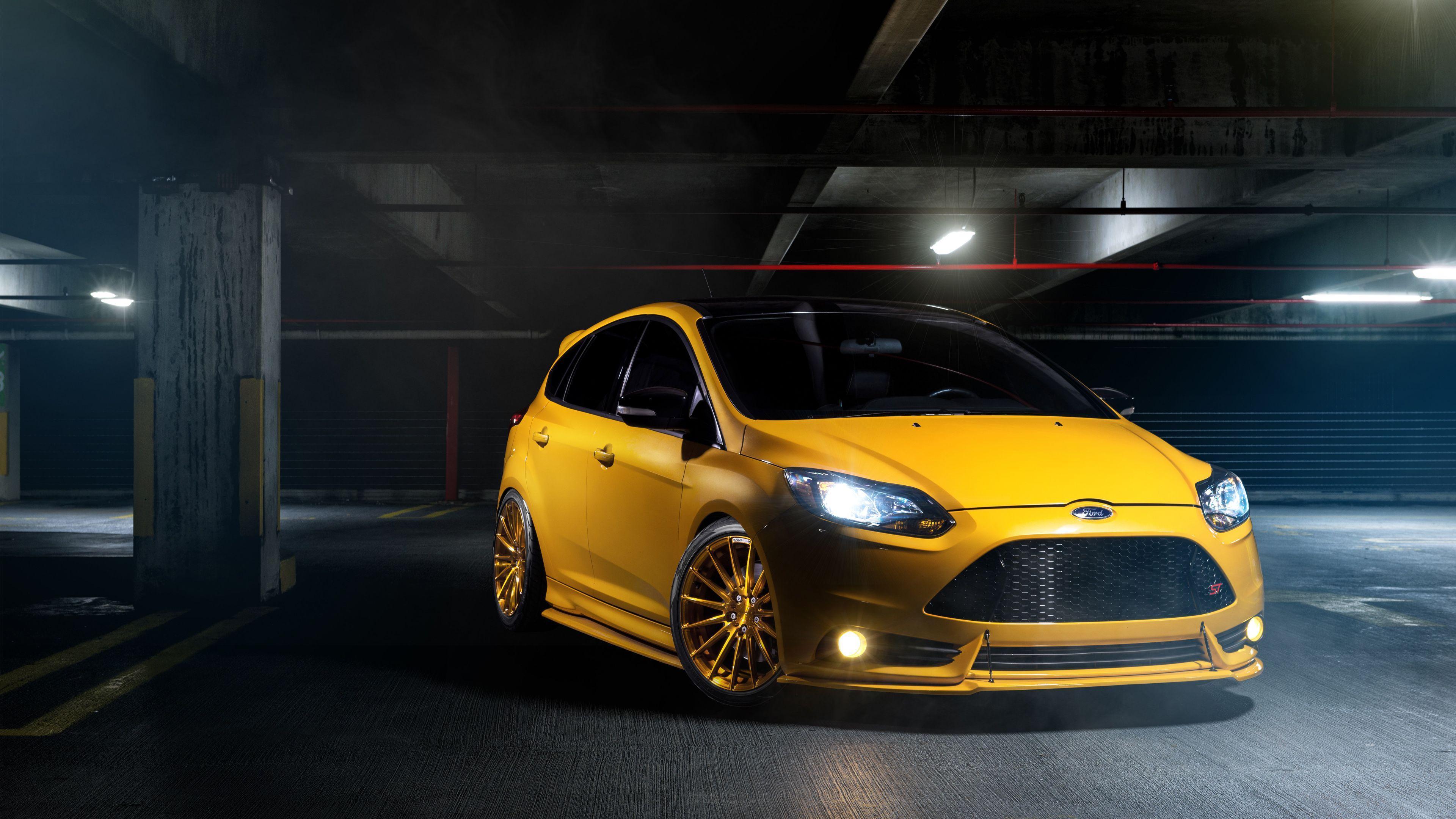 yellow car Ford Focus ST Wallpaper