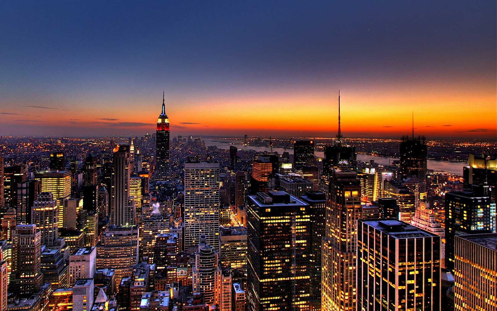 sundown view of New York City 4K