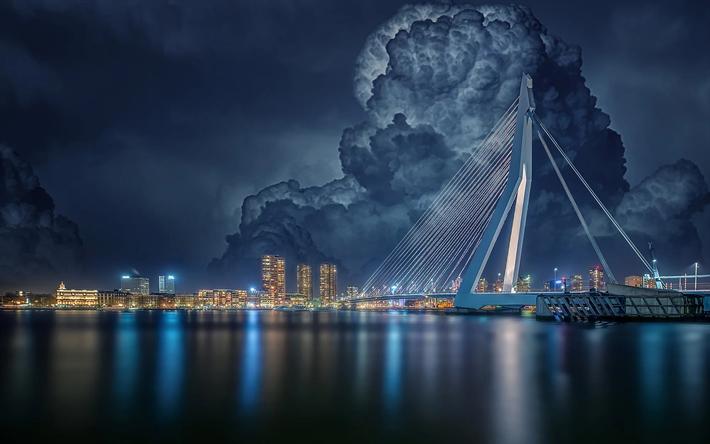 night mass river Erasmus Bridge Wallpaper