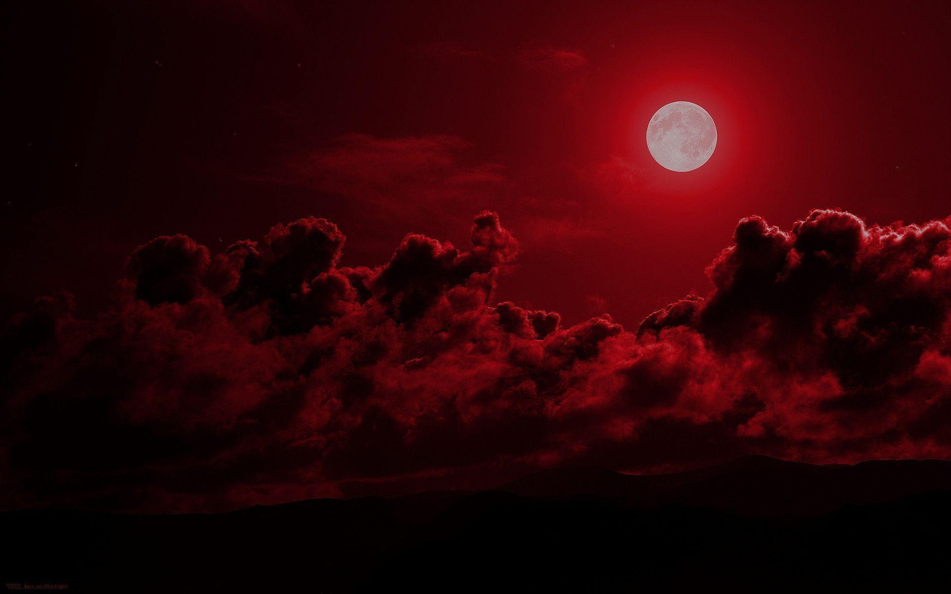 beautiful Red Moon Wallpaper