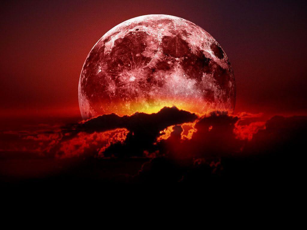 widescreen natural Red Moon Wallpaper