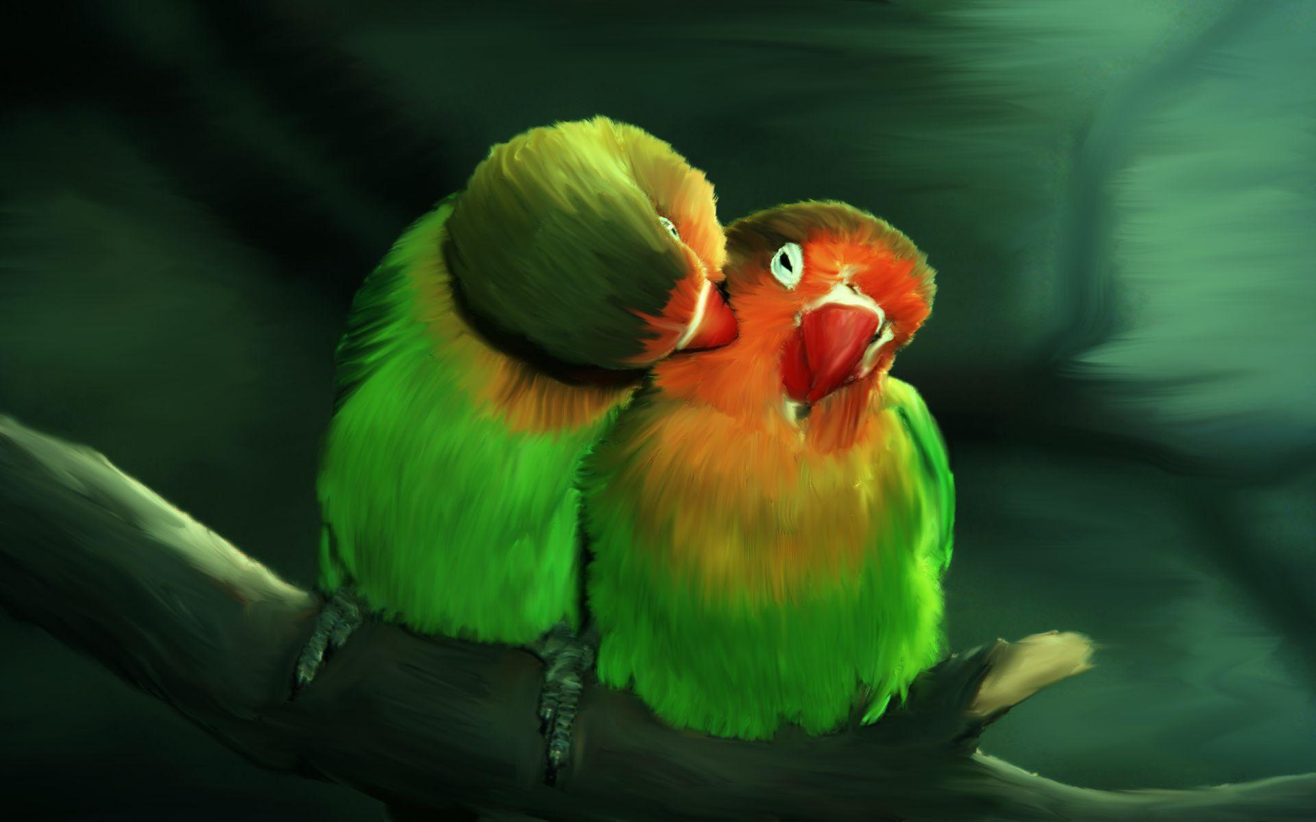 green Lovely Birds Wallpapers