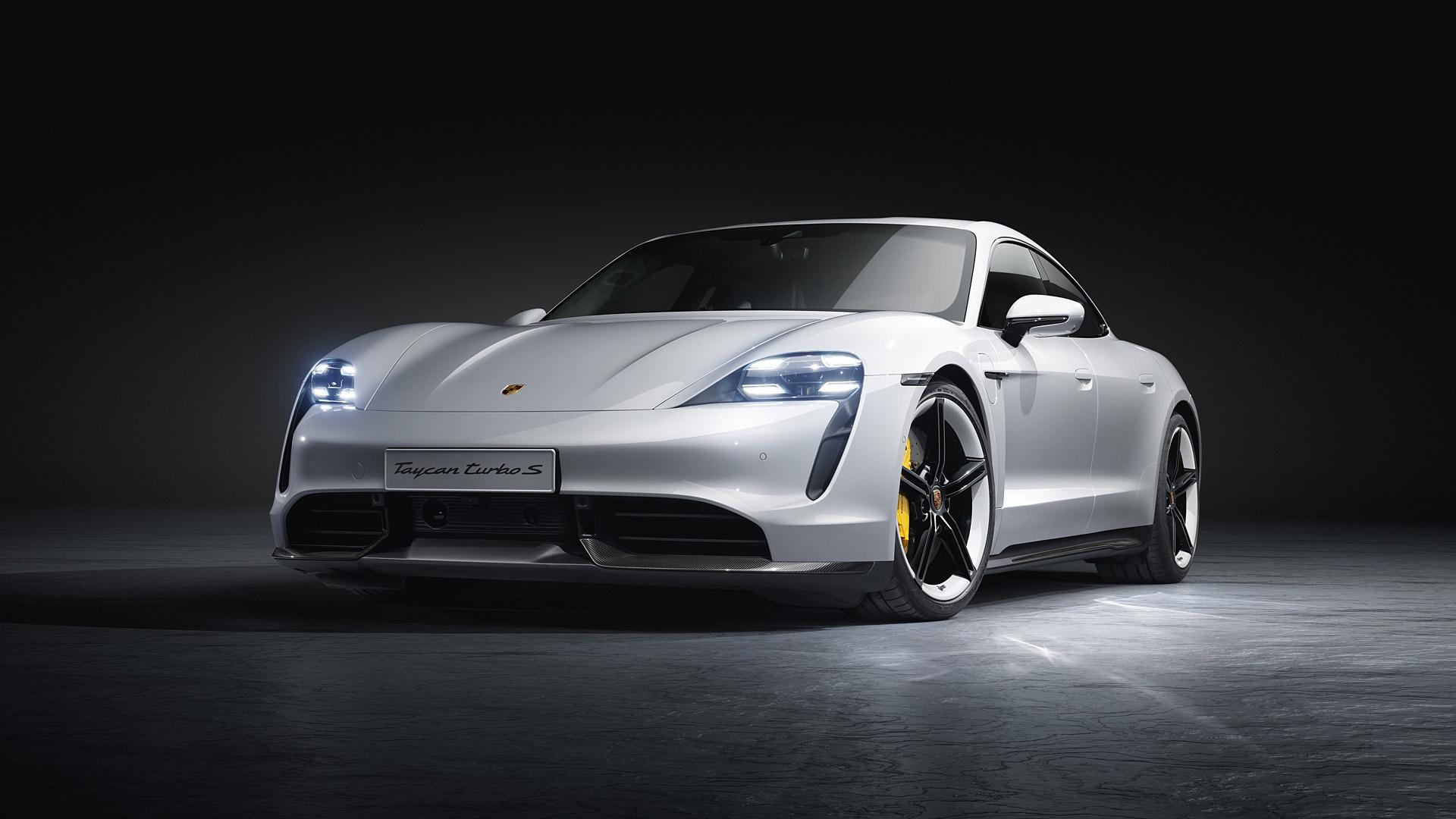 grey car Porsche Taycan Wallpaper