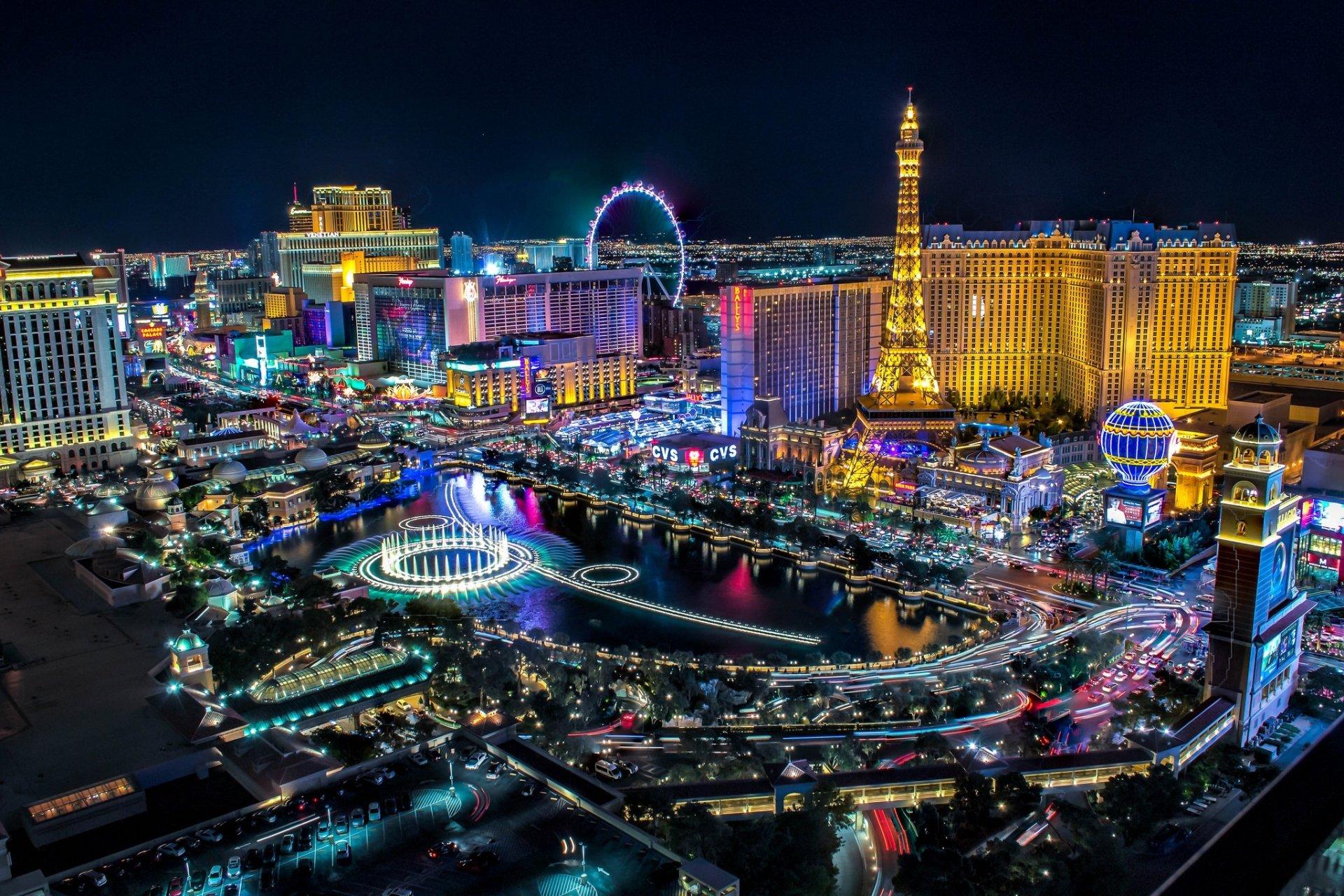 colorful light Las Vegas Wallpaper