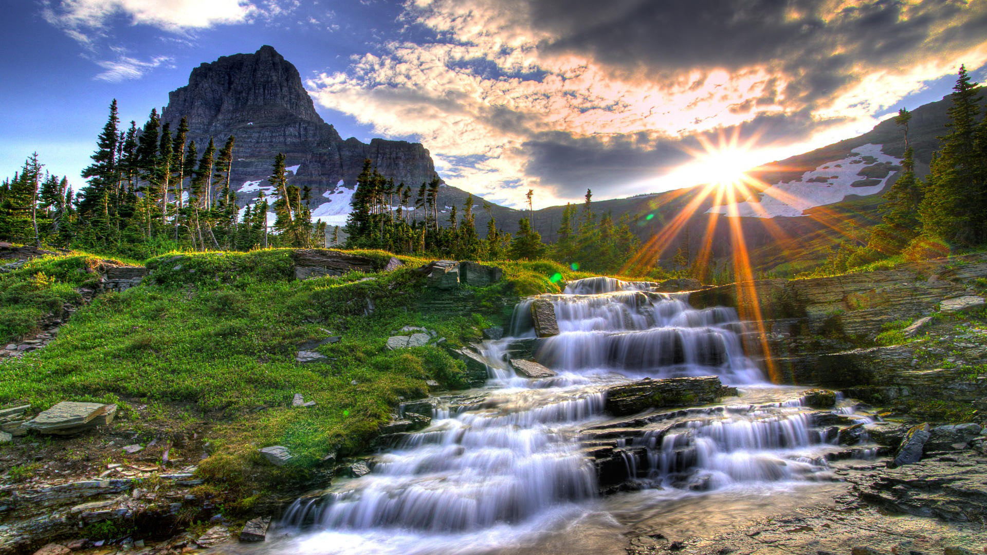 waterfall nature HD Desktop Background