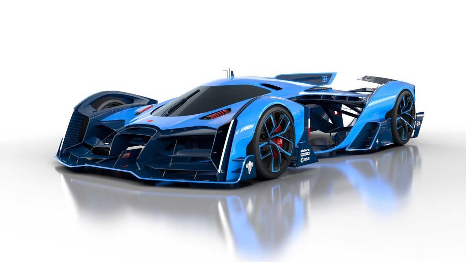 blue Bugatti Vision Le Mans