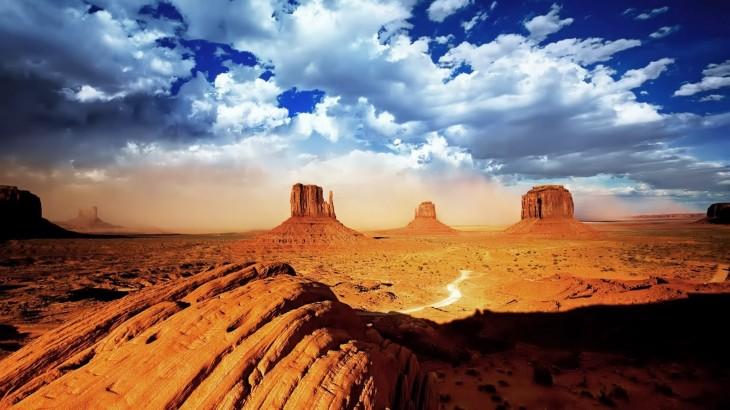 white clouds HD Desert Wallpaper
