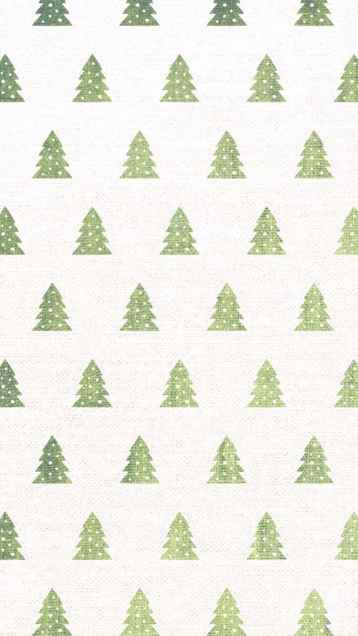 green tree Cute Christmas Wallpaper