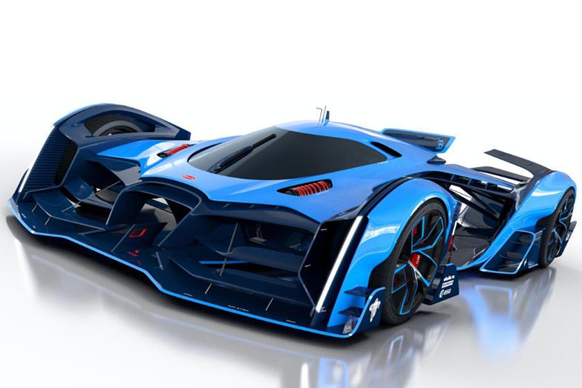 blue car Bugatti Vision Le Mans