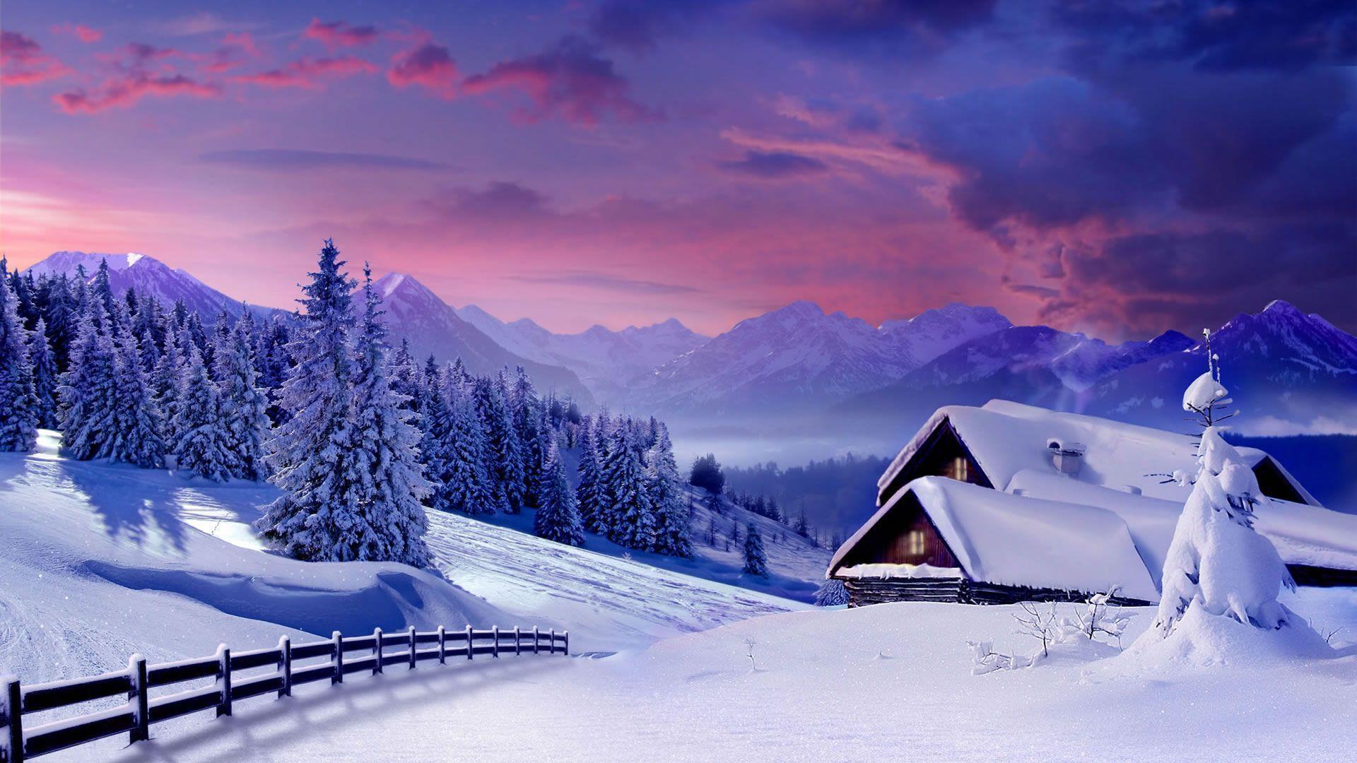 snowfall on house image