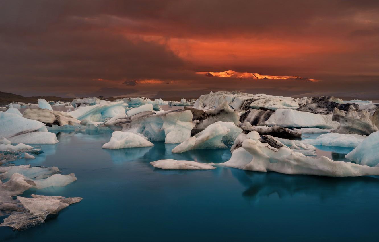 sundown Gletschersee Jökulsárlón Wallpaper