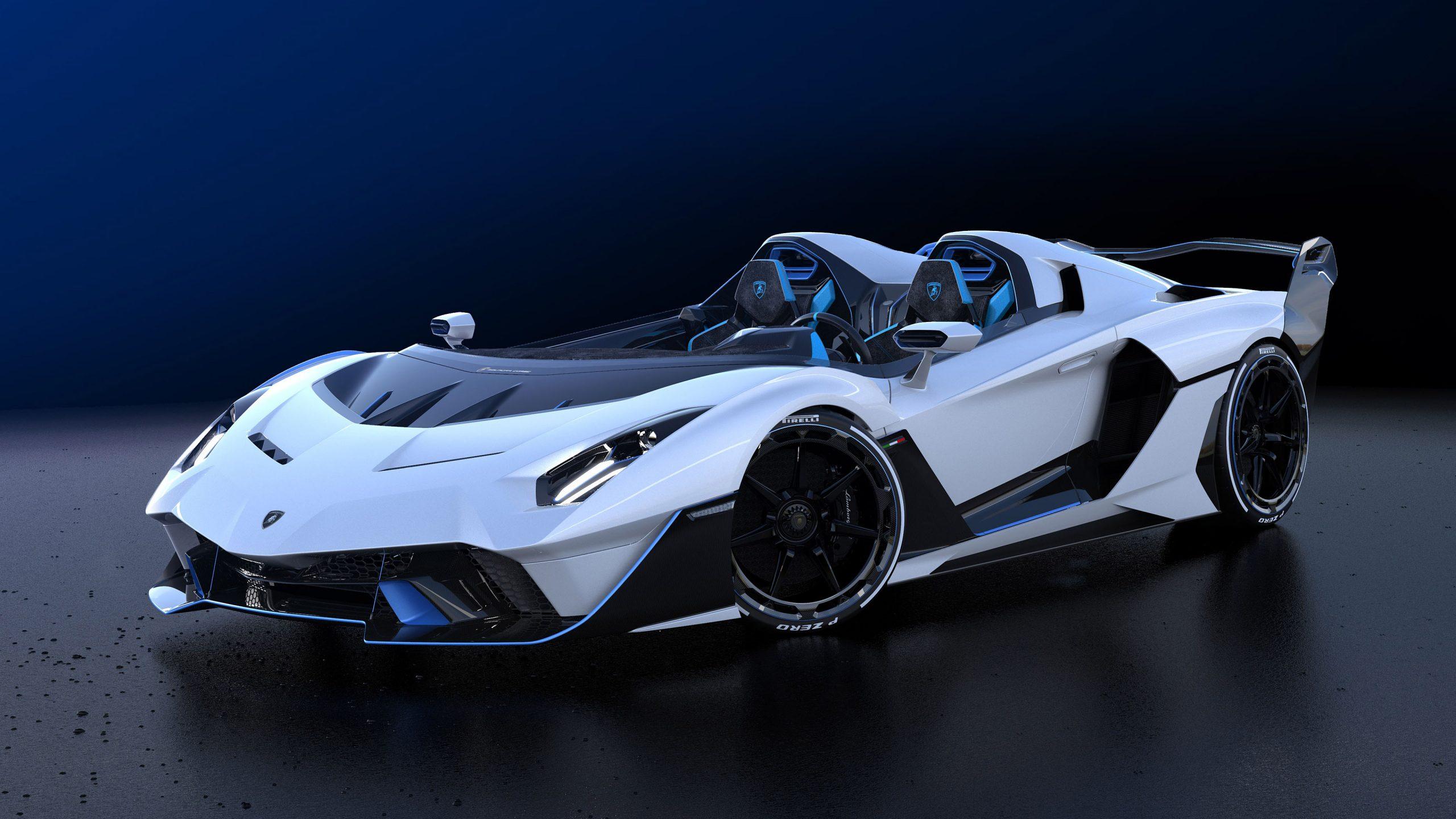 white car Lamborghini SC20 Wallpaper