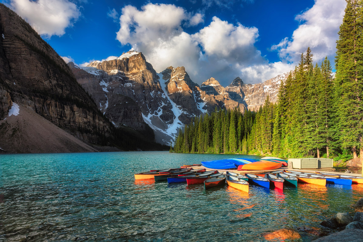 beautiful boat Banff National Park