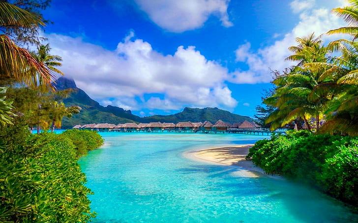 white clouds French Polynesia Wallpaper