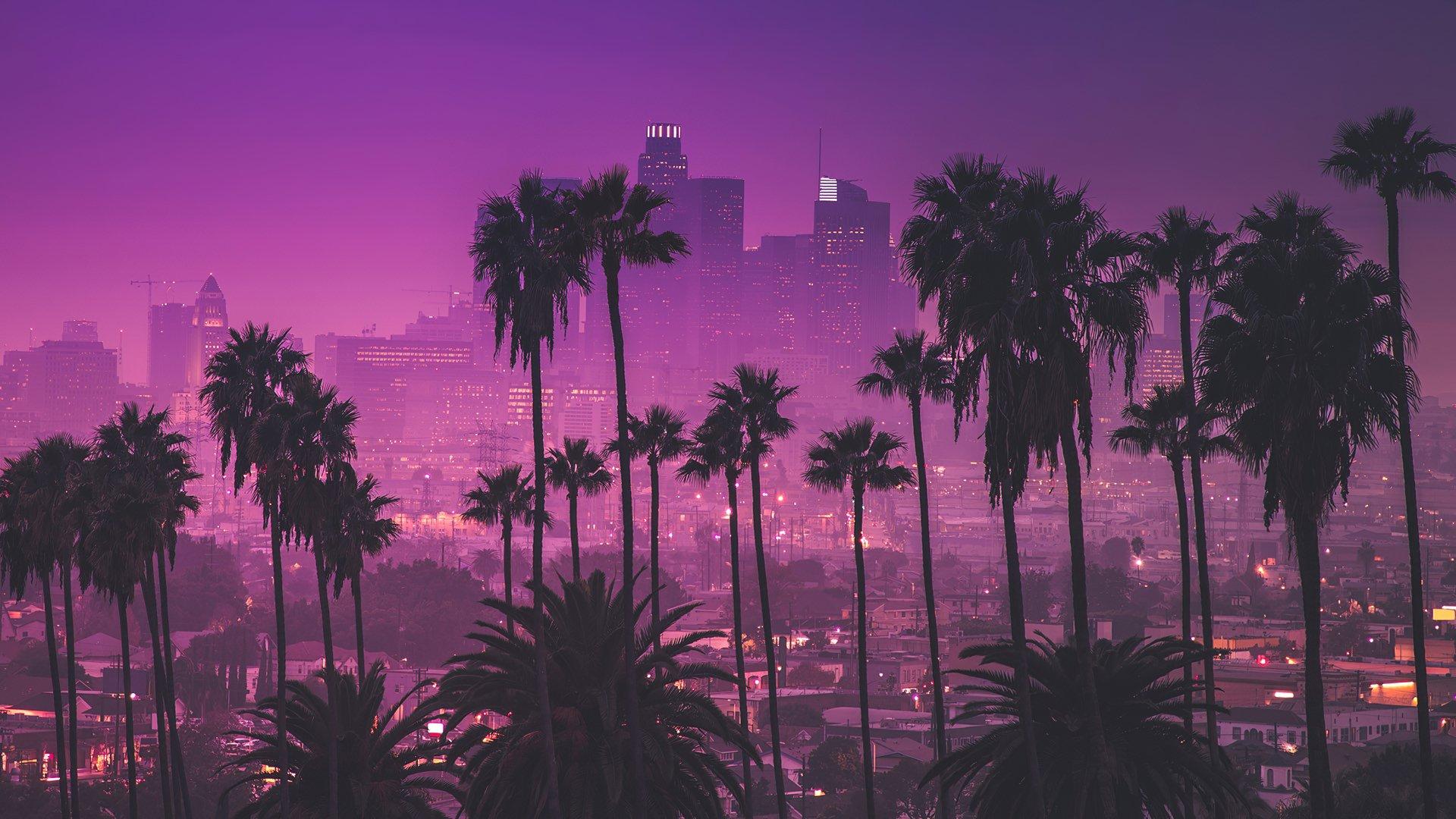 purple background Los Angeles