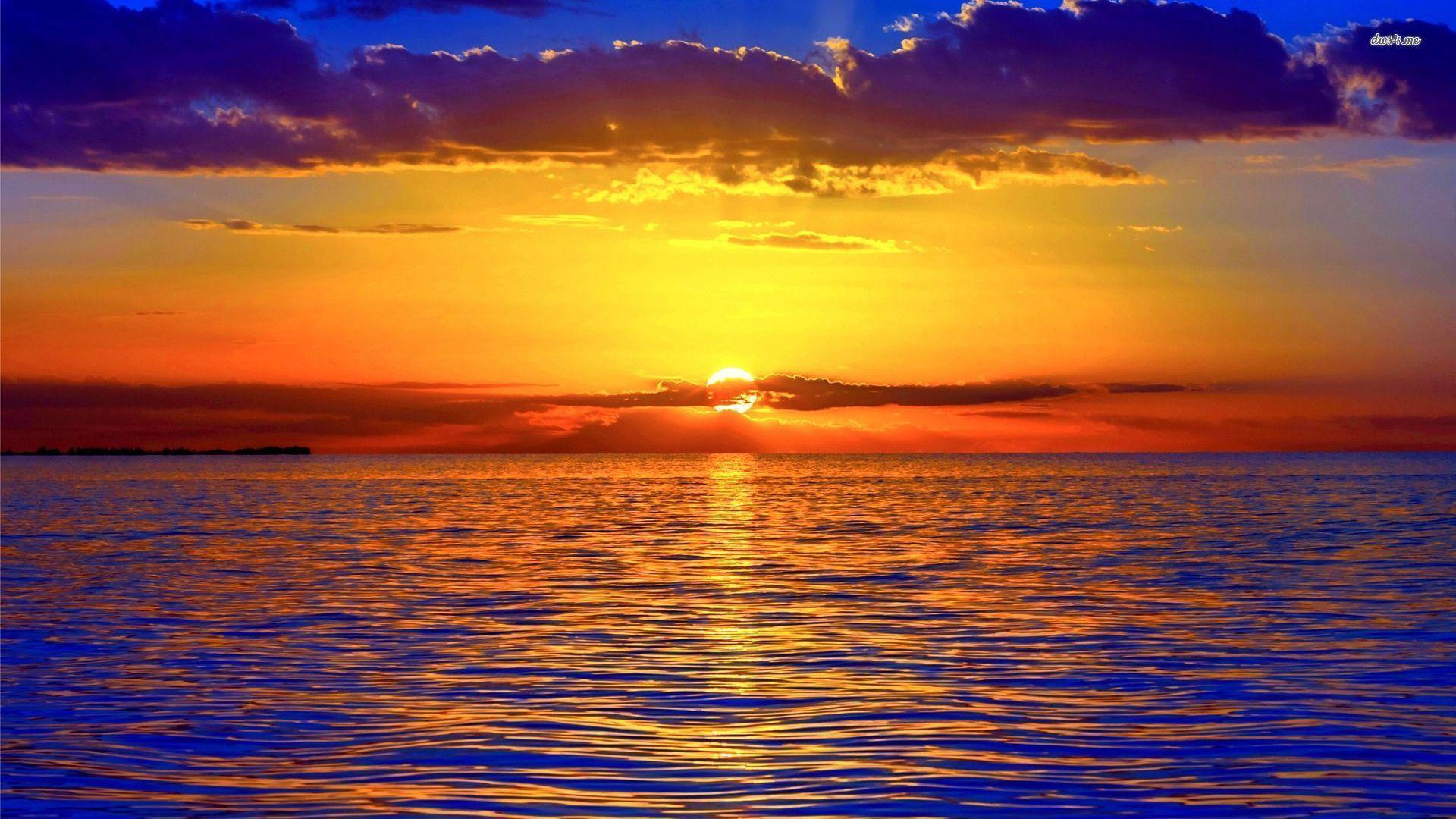 sea nature Sunrise Wallpaper