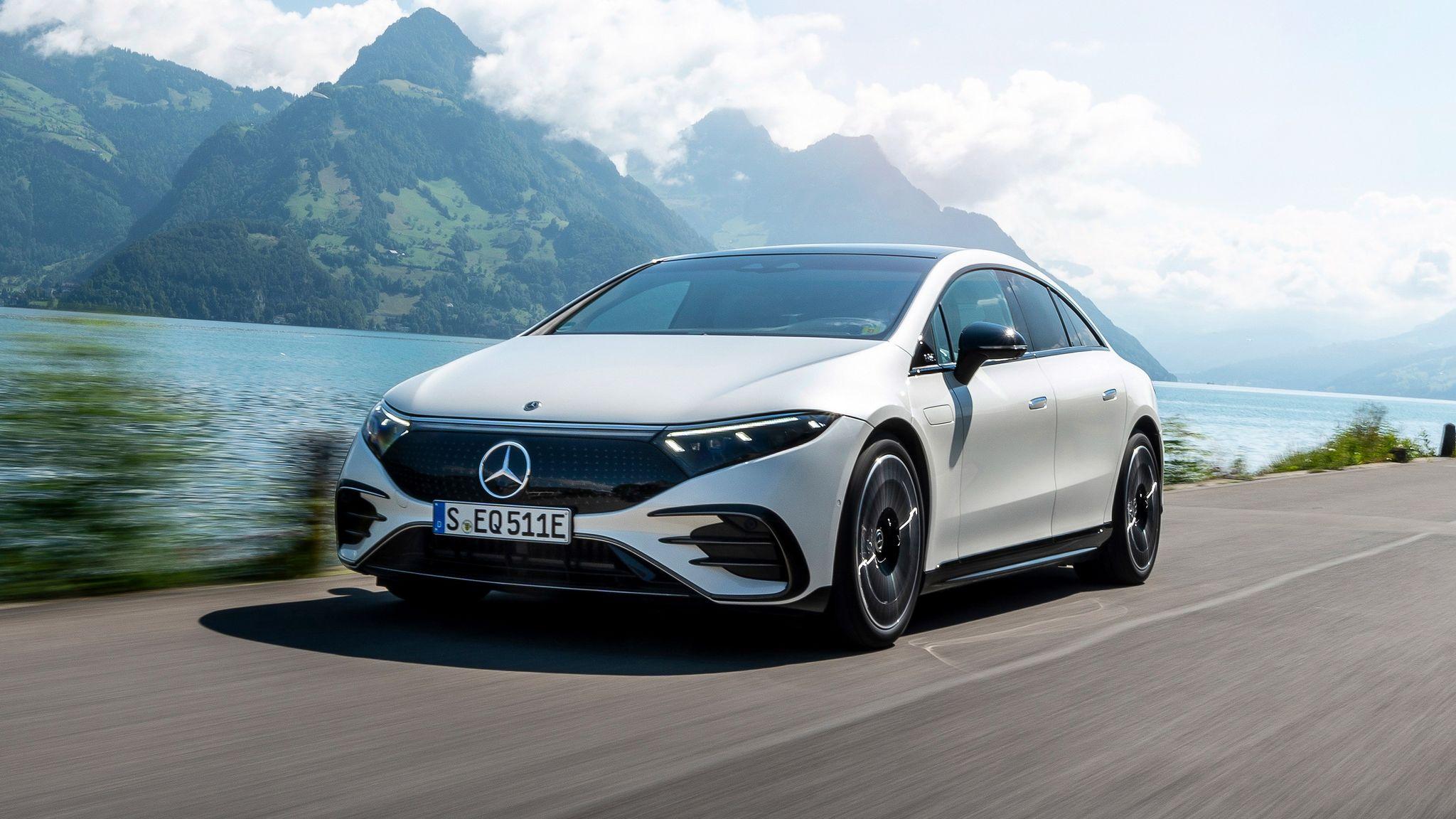 white car Mercedes-Maybach EQS